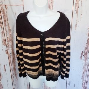 Anthropologie Moth black & tan striped cardigan